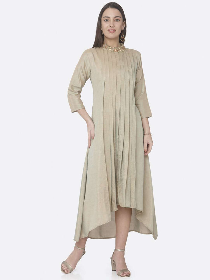 Casual Beige Embroidered Muslin Silk A-Line Dress