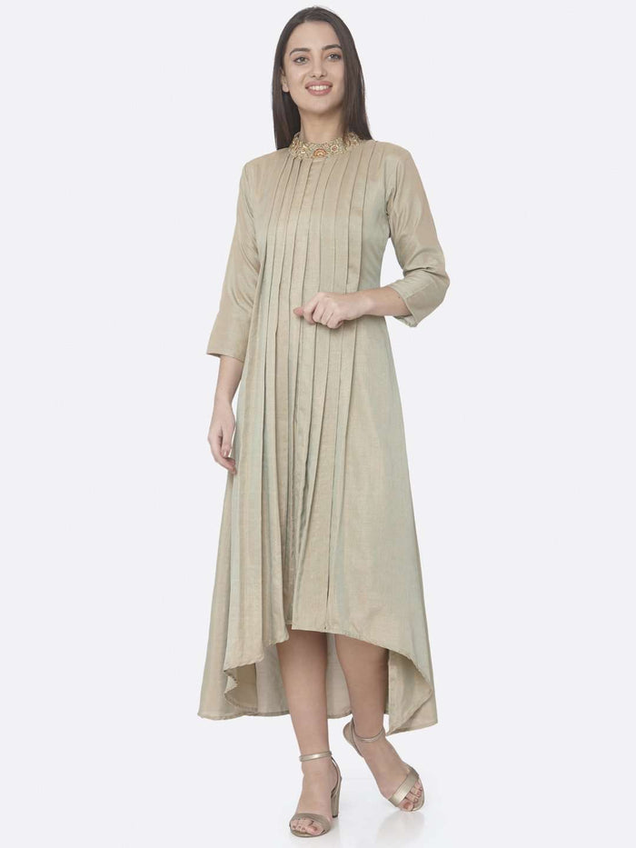 Front Side Beige Embroidered Muslin Silk A-Line Dress