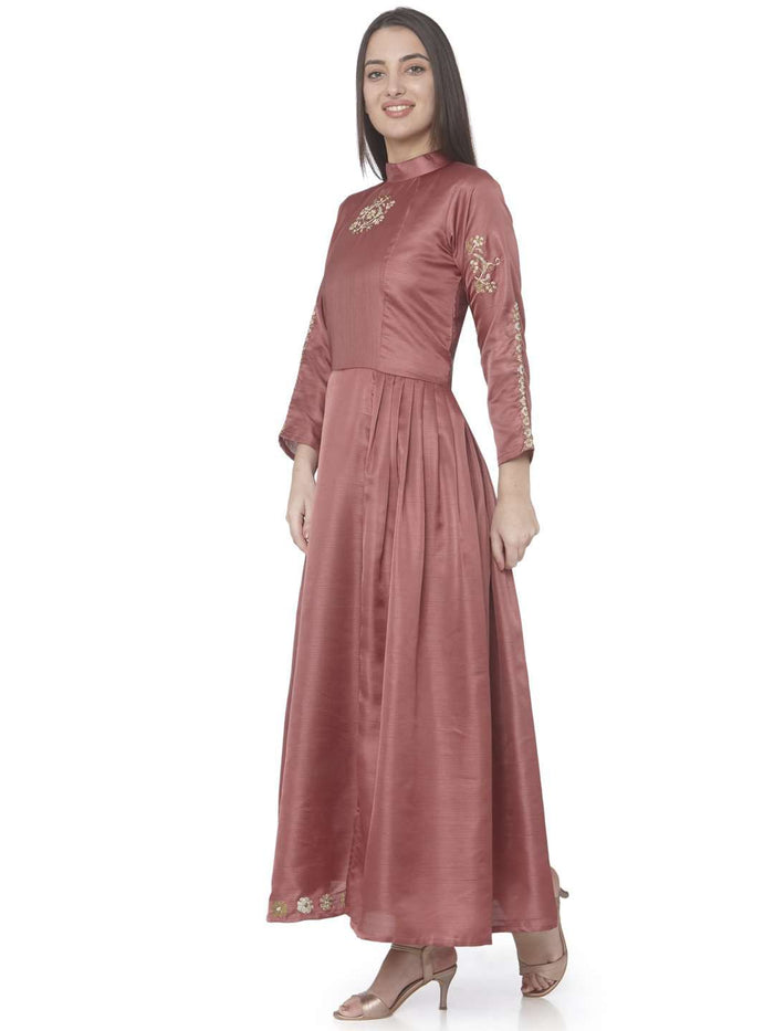 Left Side Wine Embroidered Satin Silk A-Line Dress