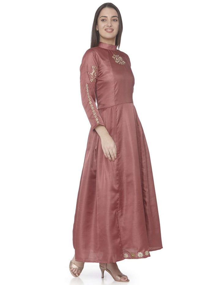 Right Side Wine Embroidered Satin Silk A-Line Dress