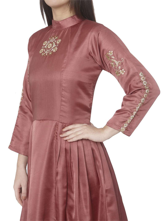 Left Side Embroidered Satin A-Line Dress With Wine Color