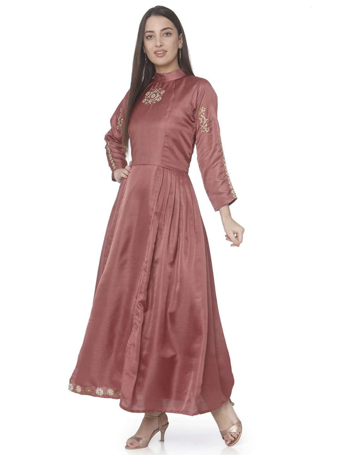 Wine Embroidered Satin Silk A-Line Dress
