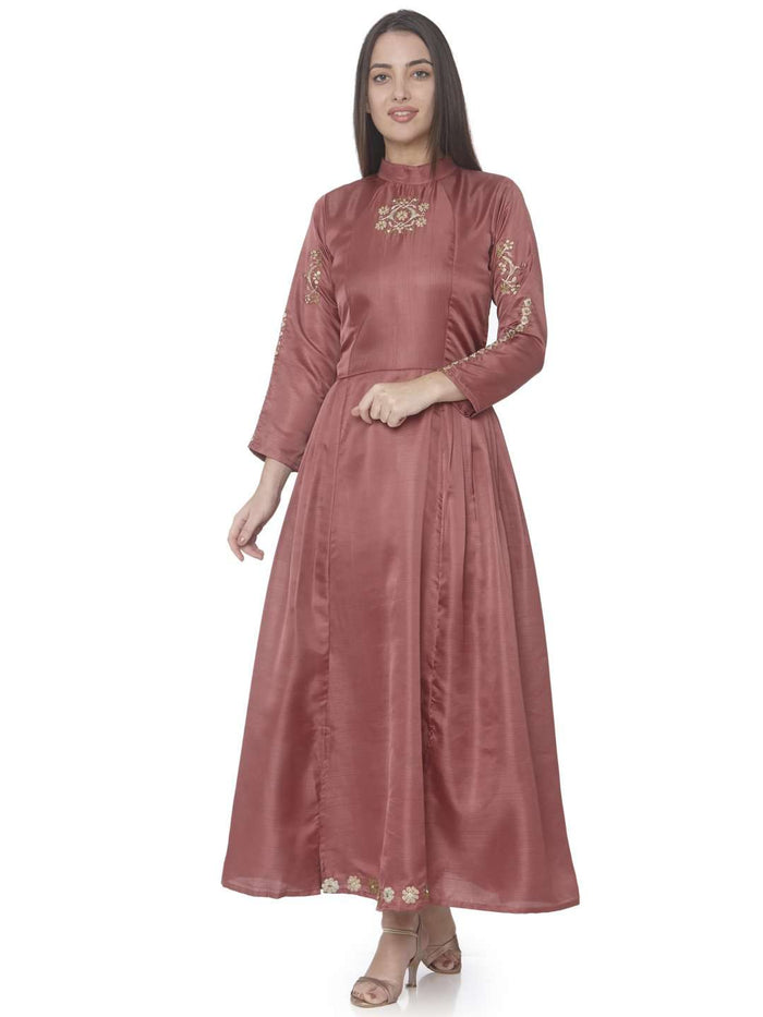 Front Side Wine Embroidered Satin Silk A-Line Dress