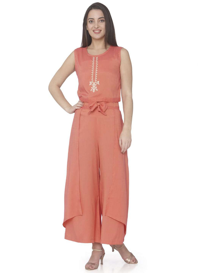 Coral Pink Embroidered Viscose Rayon A-Line Jumpsuit With Jacket