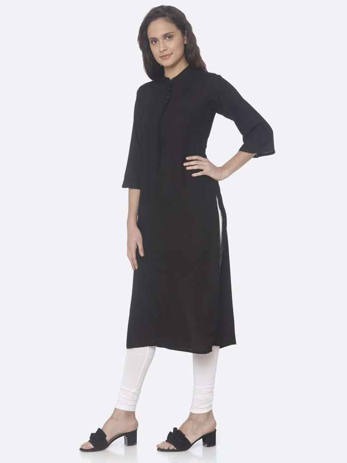 Front Side Black Solid Cotton Slub Straight Kurti With White Palazzo Pant