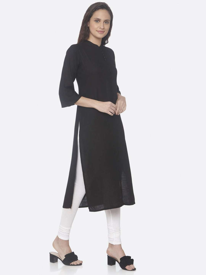 Right Side Black Solid Cotton Slub Straight Kurti With White Palazzo Pant