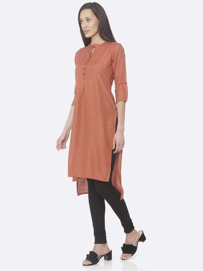 Left Side Rust Solid Cotton Slub Straight Kurti With Black Palazzo Pant