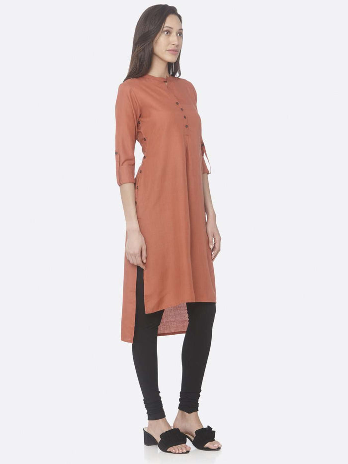 Right Side Rust Solid Cotton Slub Straight Kurti With Black Palazzo Pant
