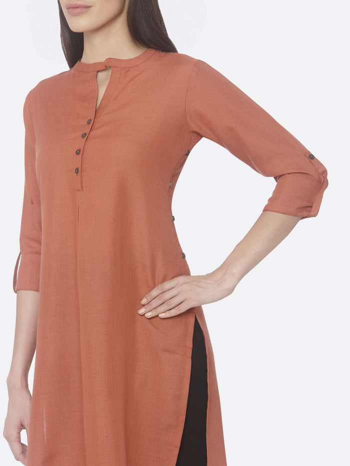 Left Side Rust Solid Cotton Slub Straight Kurti
