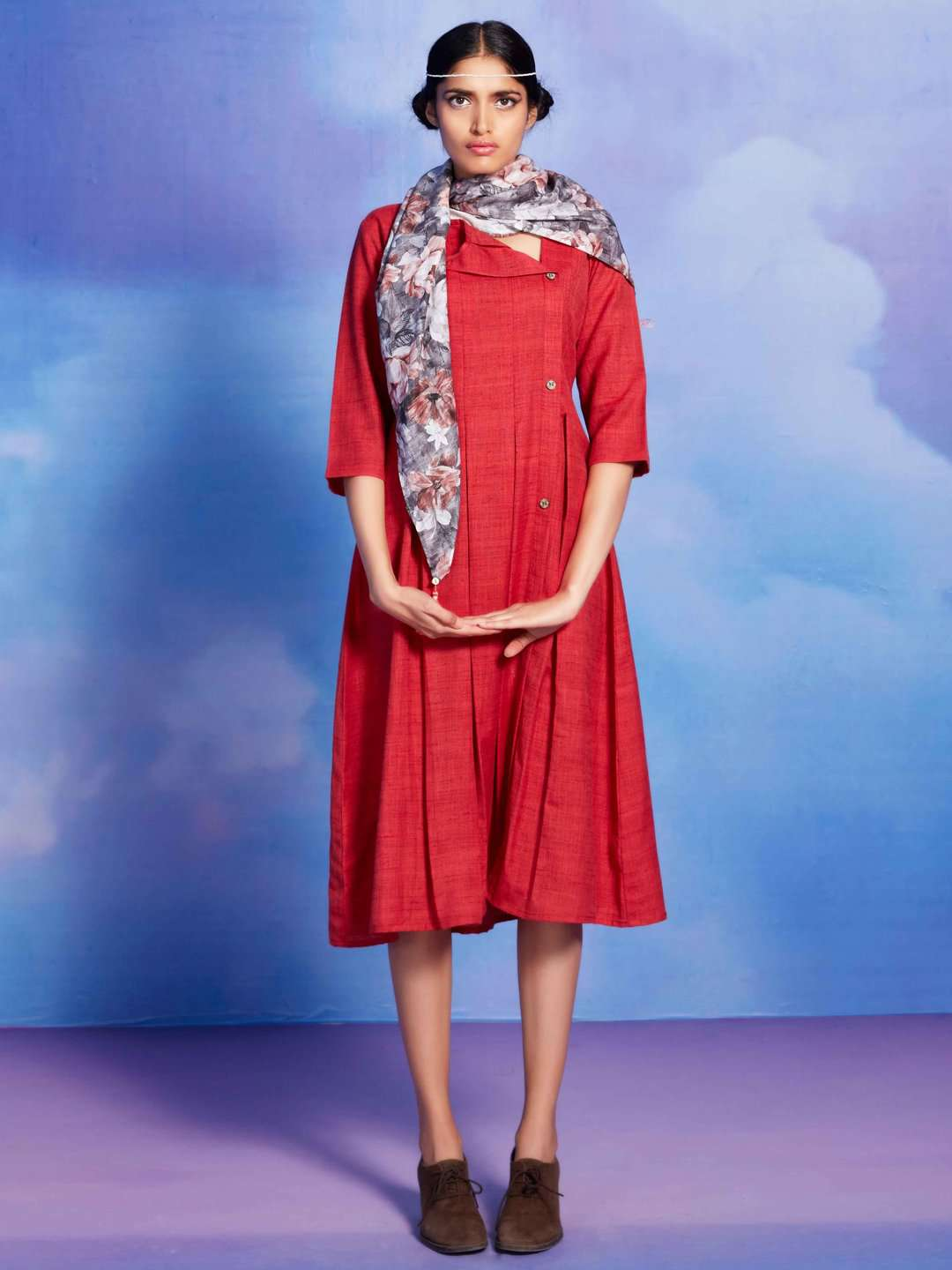 Fashionista Red Plain Cotton A-Line Dress