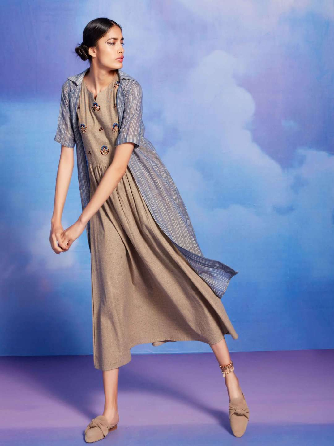 Beige and Blue Embroidered Cotton A-Line Dress With Long Jacket