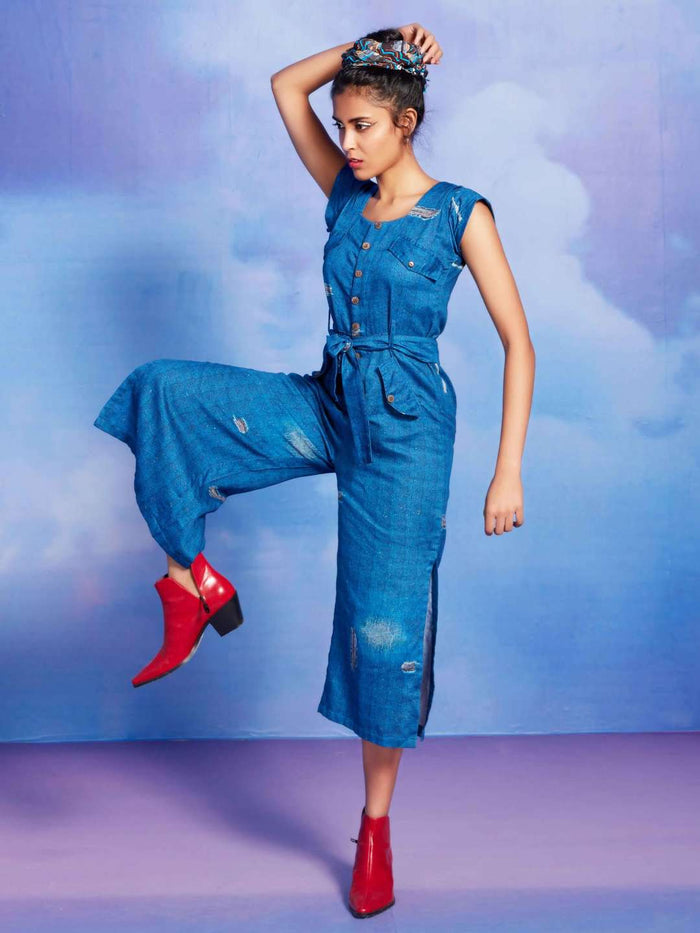 Boujee Blue Printed Cotton Straight Jumpsuit