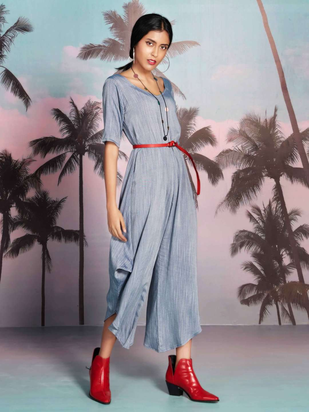 Cover Girl Grey Plain Rayon A-Line Jumpsuit