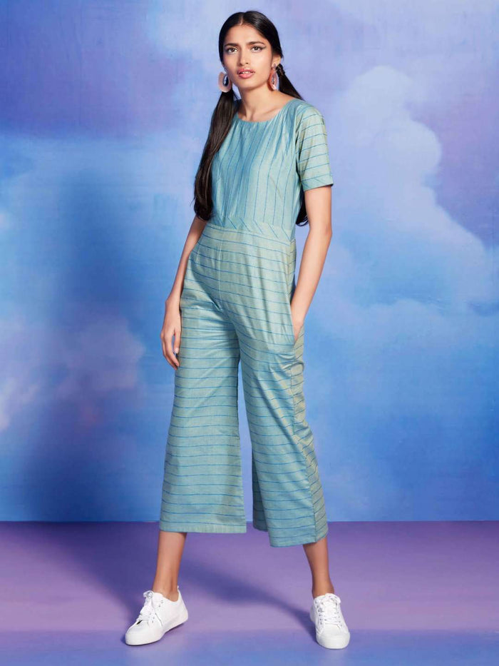 Rouge Turquoise Printed Polly Cotton Straight Jumpsuit