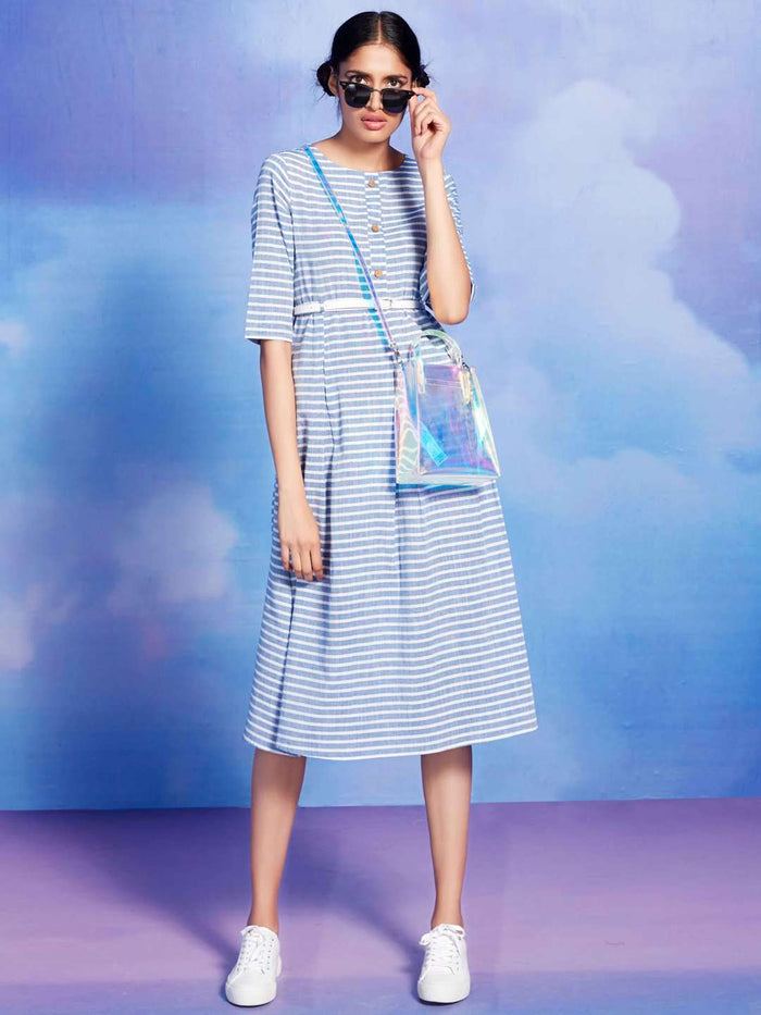 Front Side Seaside Blue Printed Cotton A-Line Dress