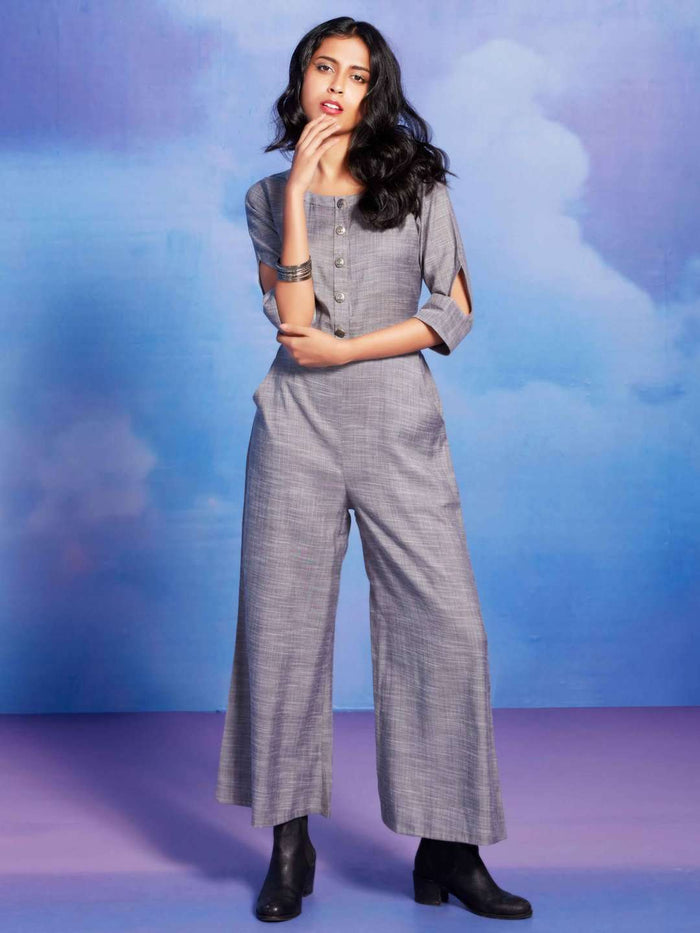 Bombshell Grey Plain Cotton Straight Jumpsuit