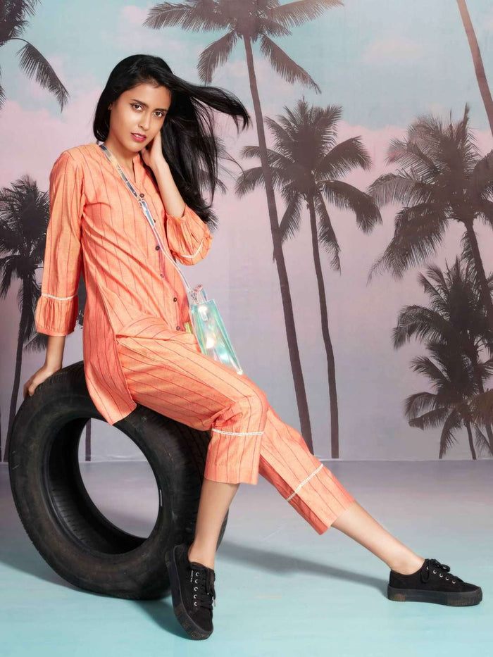Right Side Femme Fatale Orange Printed Polly Cotton Straight Kurta Set
