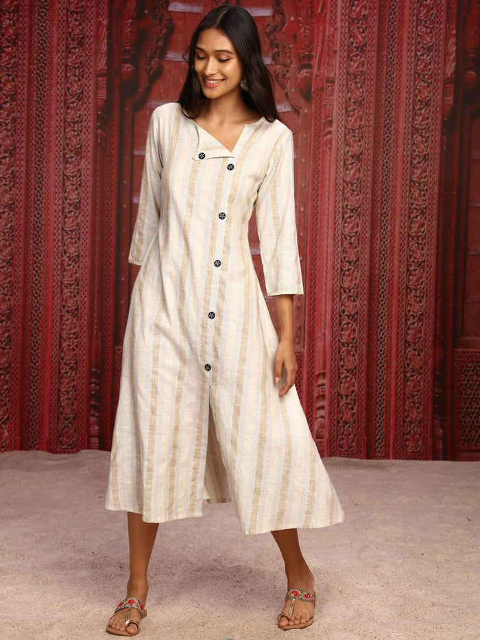 Cream Printed Weaving Cotton A-Line Dress