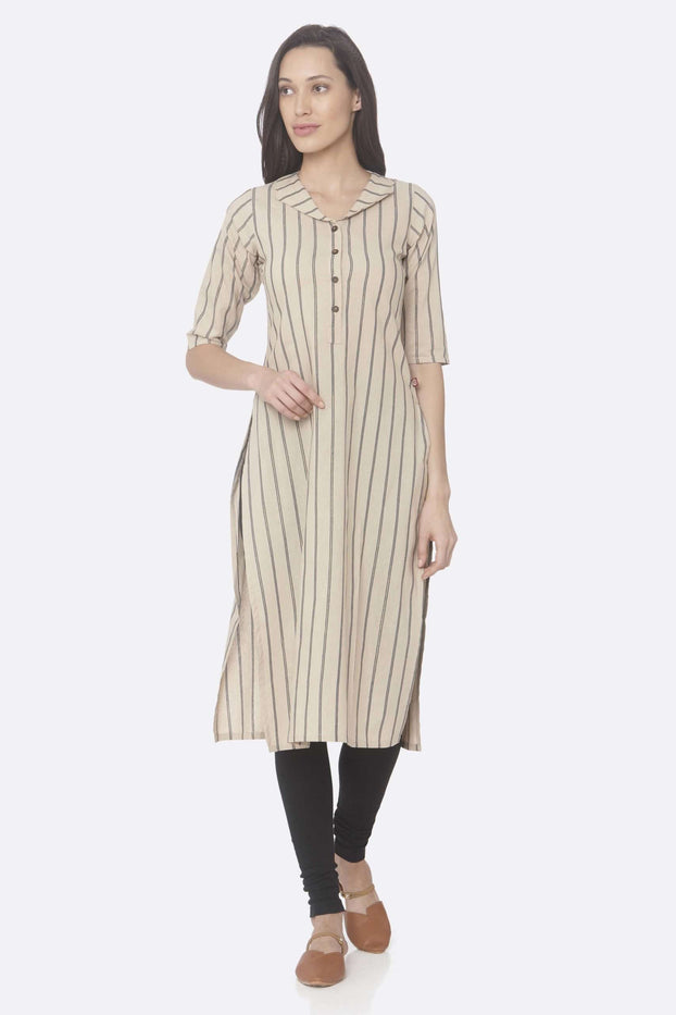 Front Side Casual Beige Printed Cotton Straight Kurti With Black Palazzo Pant