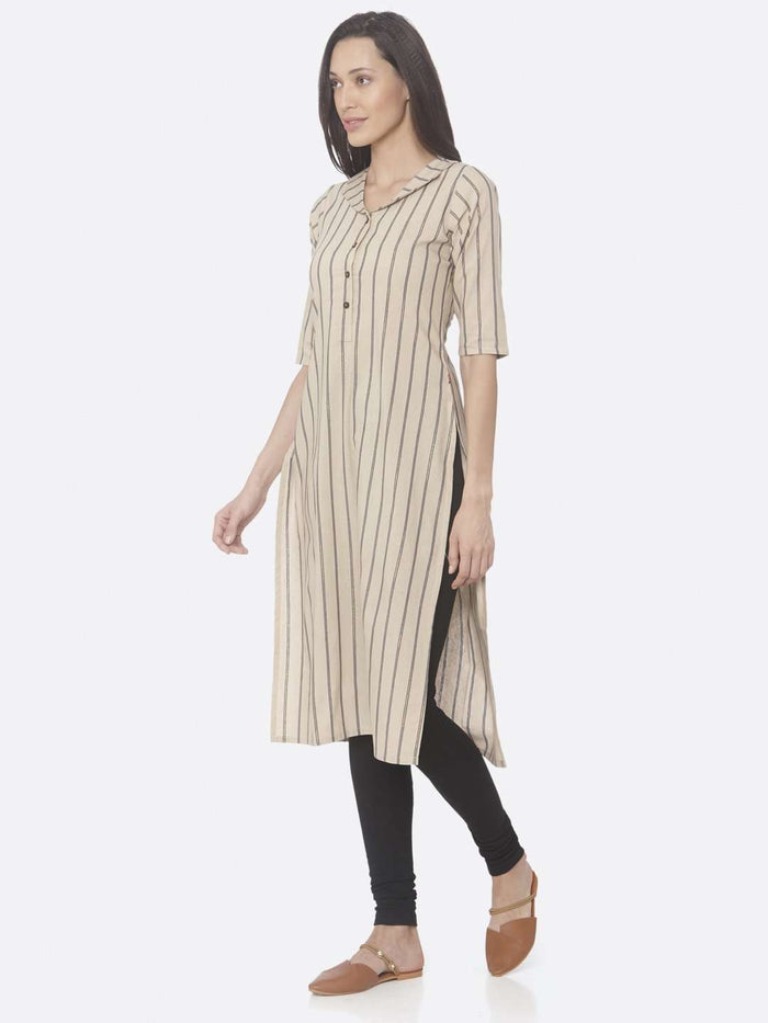 Left Side Beige Printed Cotton Straight Kurti With Black Palazzo Pant