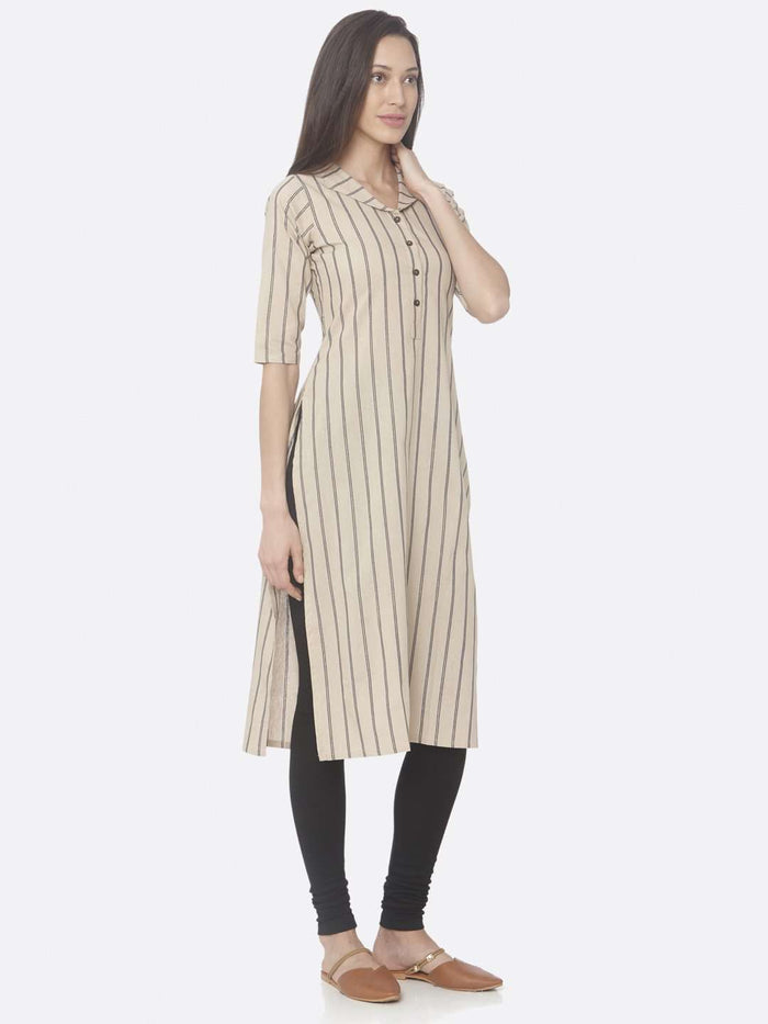 Right Side Beige Printed Cotton Straight Kurti With Black Palazzo Pant