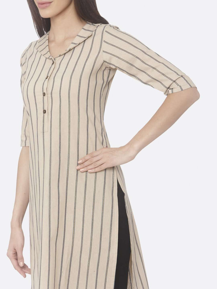 Left Side Beige Printed Cotton Straight Kurti