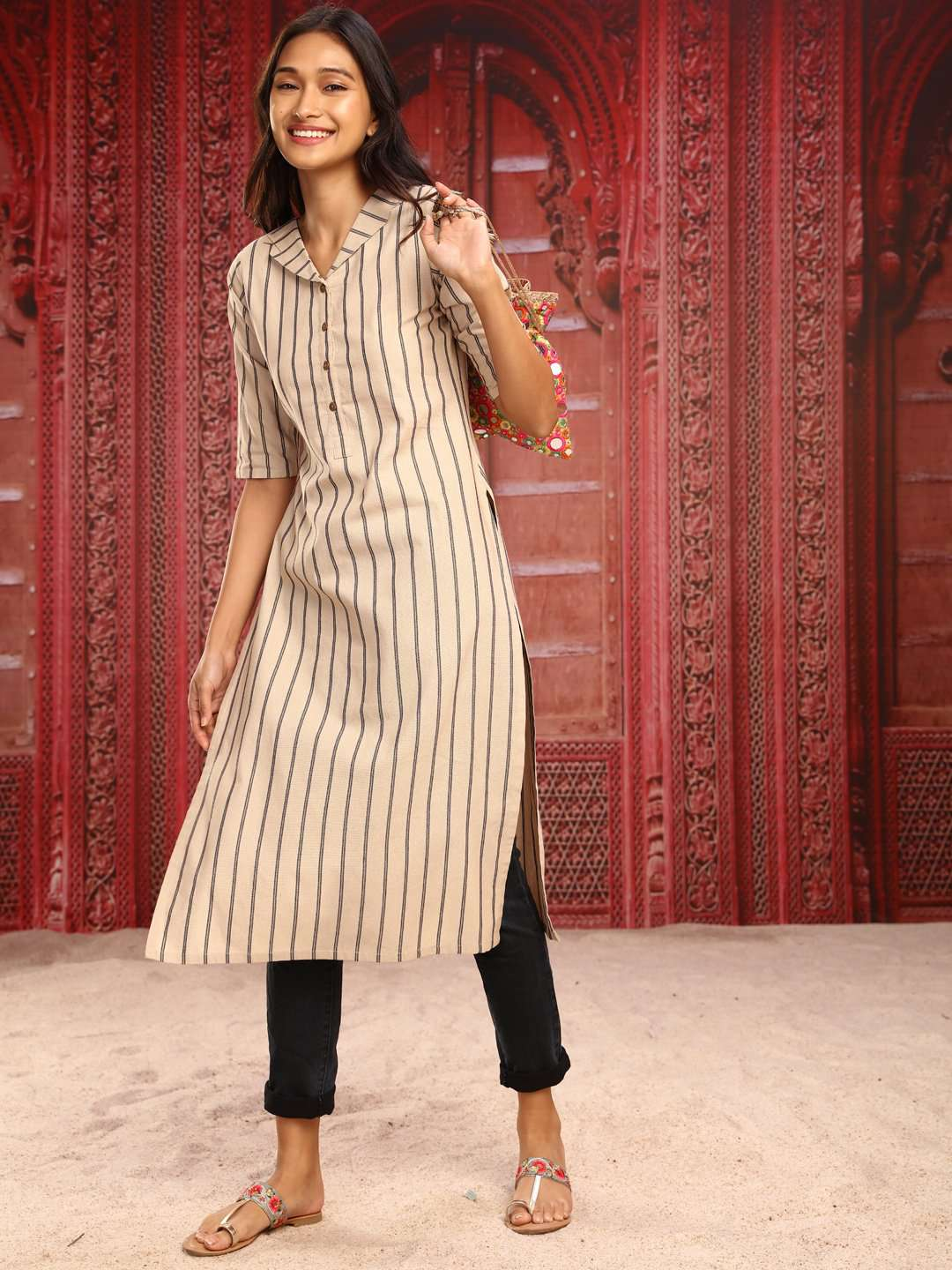 Full Front Side Beige Printed Cotton Straight Kurti With Black Pant