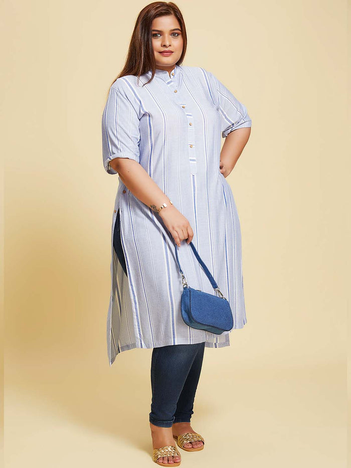 Blue Printed Rayon Stripe Up & Down Kurti Plus size