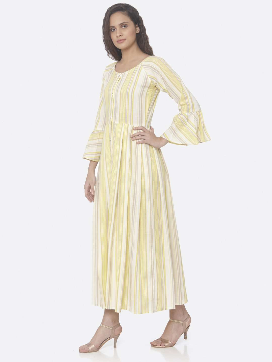 Left Side Yellow Printed Cotton A-Line Dress