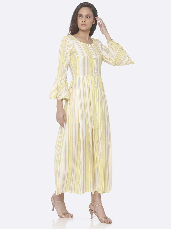 Right Side Yellow Printed Cotton A-Line Dress