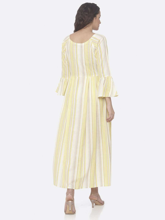 Back Side Yellow Printed Cotton A-Line Dress