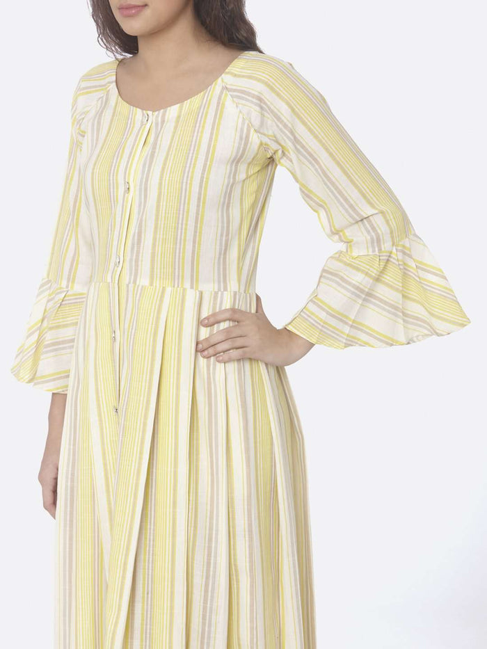 Left Side Printed Cotton A-Line Dress With Yellow Color