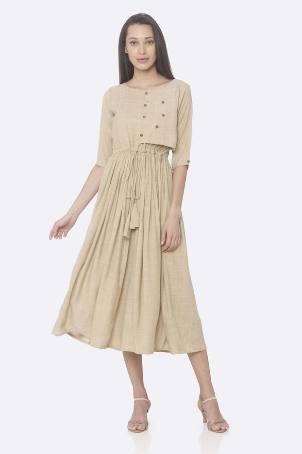 Front Side Solid Weaving Viscose Cotton A-Line Dress With Beige Color