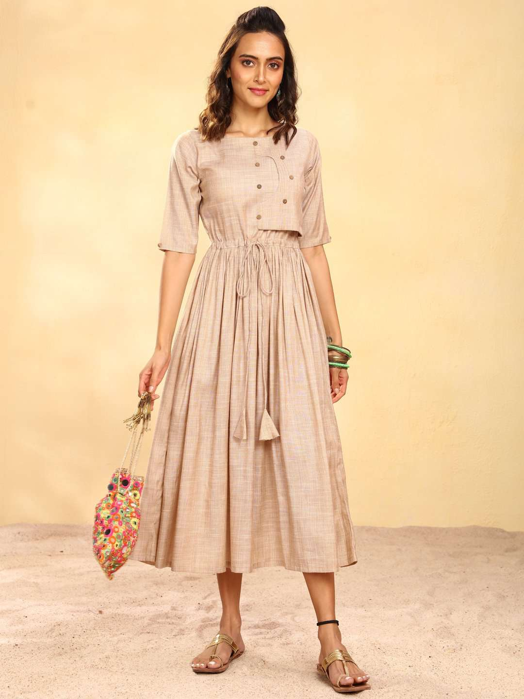 Beige Solid Weaving Viscose Cotton A-Line Dress