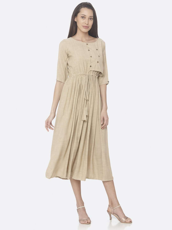 Right Side Beige Solid Weaving Viscose Cotton A-Line Dress
