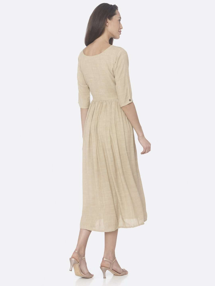 Back Right Side Beige Solid Weaving Viscose Cotton A-Line Dress
