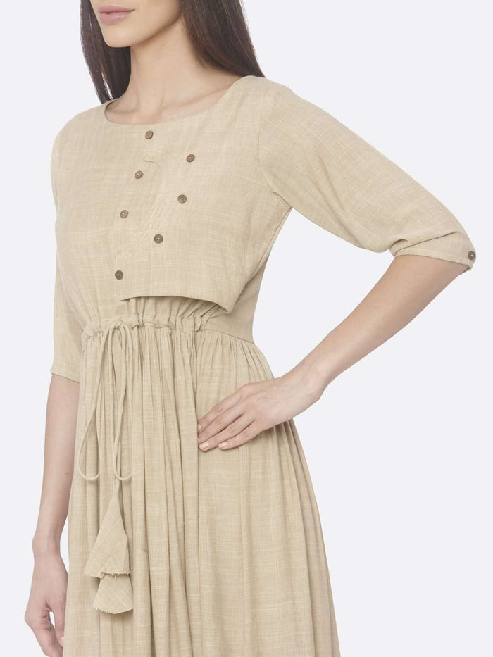Left Side Solid Weaving Viscose Cotton A-Line Dress With Beige Color