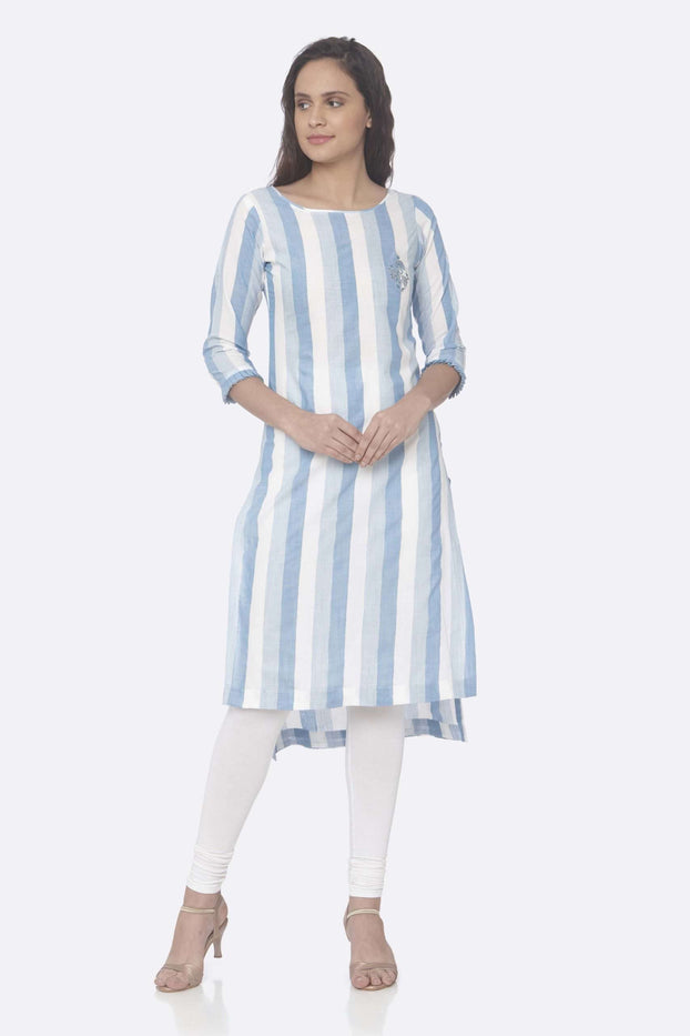 Front Side Sky Blue Printed Weaving Cotton Up&Down Kurti With White Palazzo Pant
