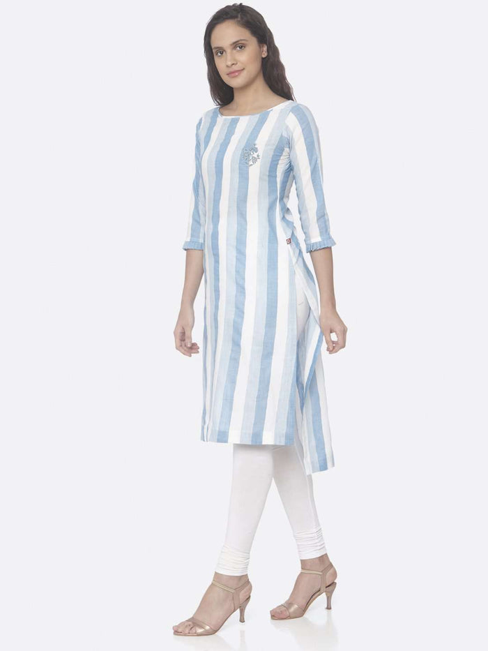 Left Side Sky Blue Printed Weaving Cotton Up&Down Kurti With White Palazzo Pant