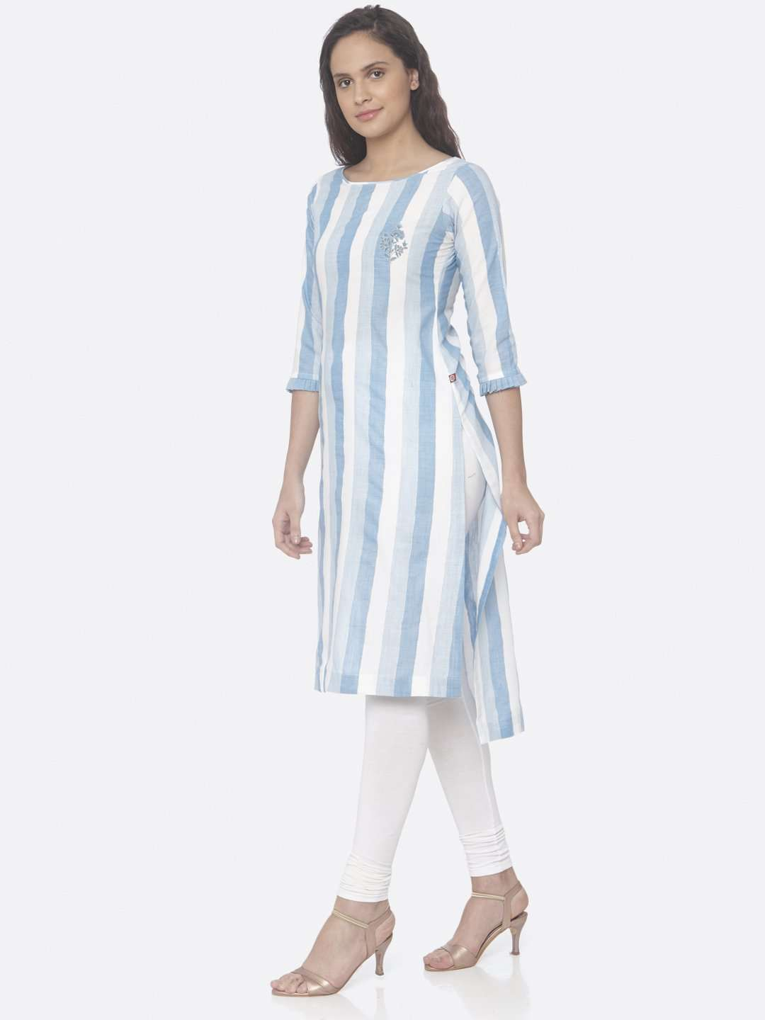 Sky Blue Printed Weaving Cotton Up&Down Kurti Plus Size