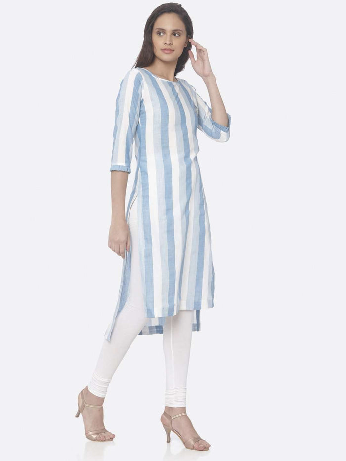 Right Side Sky Blue Printed Weaving Cotton Up&Down Kurti With White Palazzo Pant