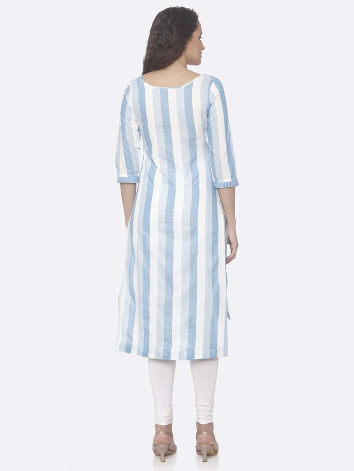 Back Side Sky Blue Printed Weaving Cotton Up&Down Kurti With White Palazzo Pant
