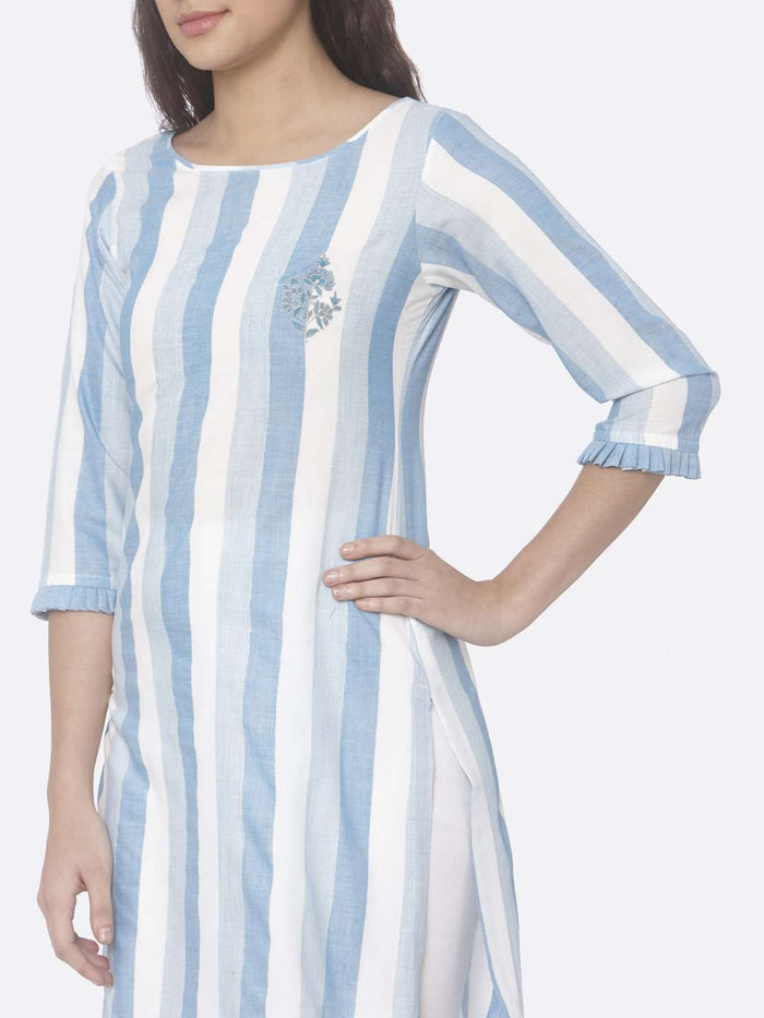 Left Side Sky Blue Printed Weaving Cotton Up&Down Kurti