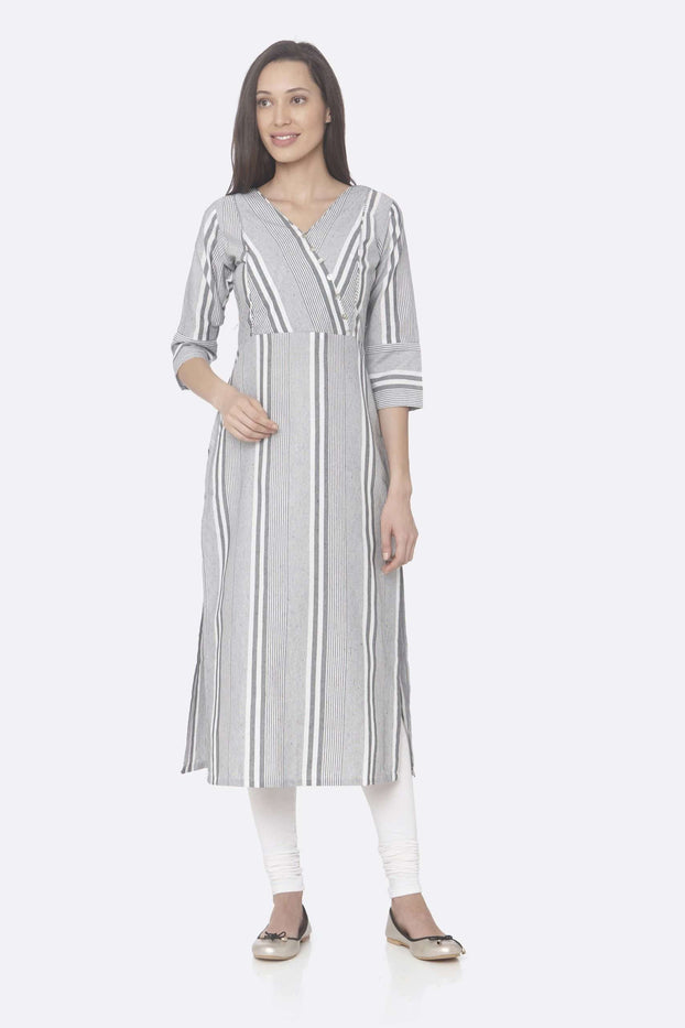 Front Side Grey Printed Cotton Straight Kurti With White Palazzo Pant