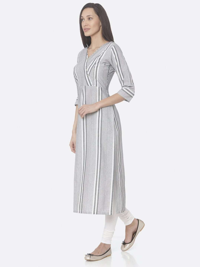 Left Side Grey Printed Cotton Straight Kurti With White Palazzo