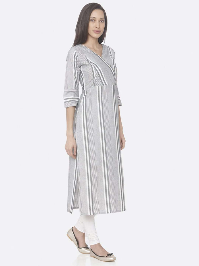 Right Side Grey Printed Cotton Straight Kurti With White Palazzo Pant
