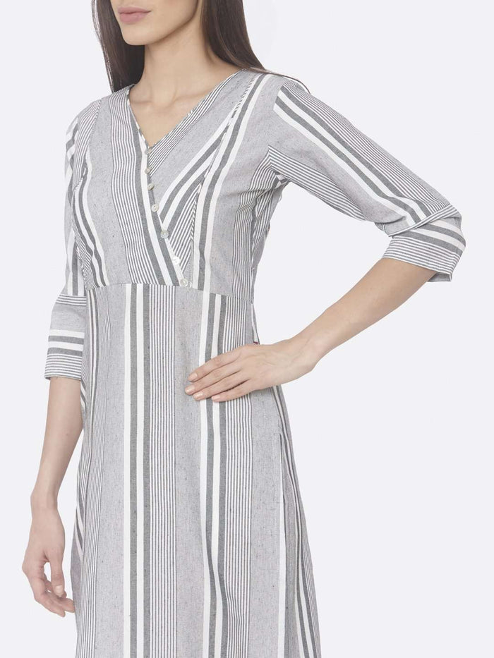 Left Side Grey Printed Cotton Straight Kurti