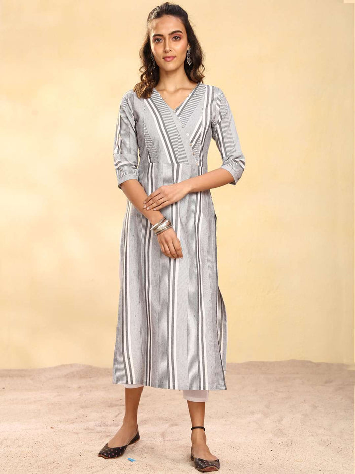 Full Front Side Printed Cotton Straight Kurti With Grey Color