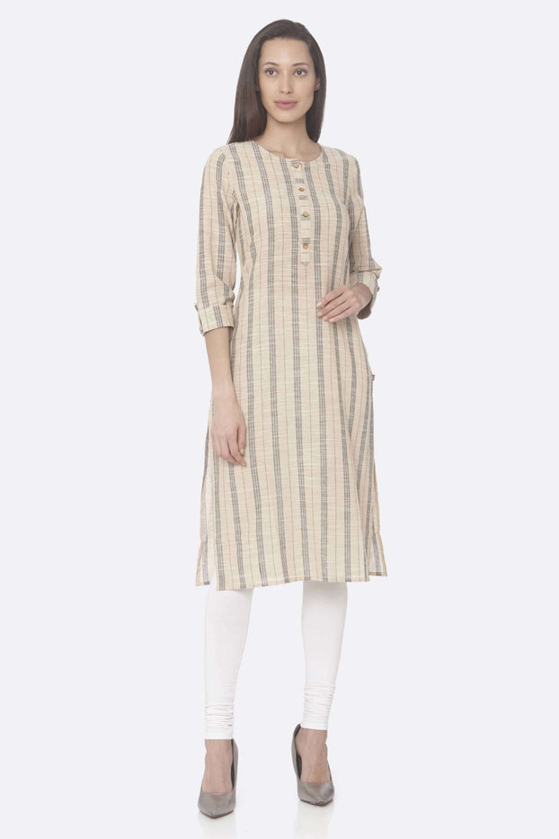 Front Side Beige Printed Cotton Straight Kurti With White Palazzo Pant