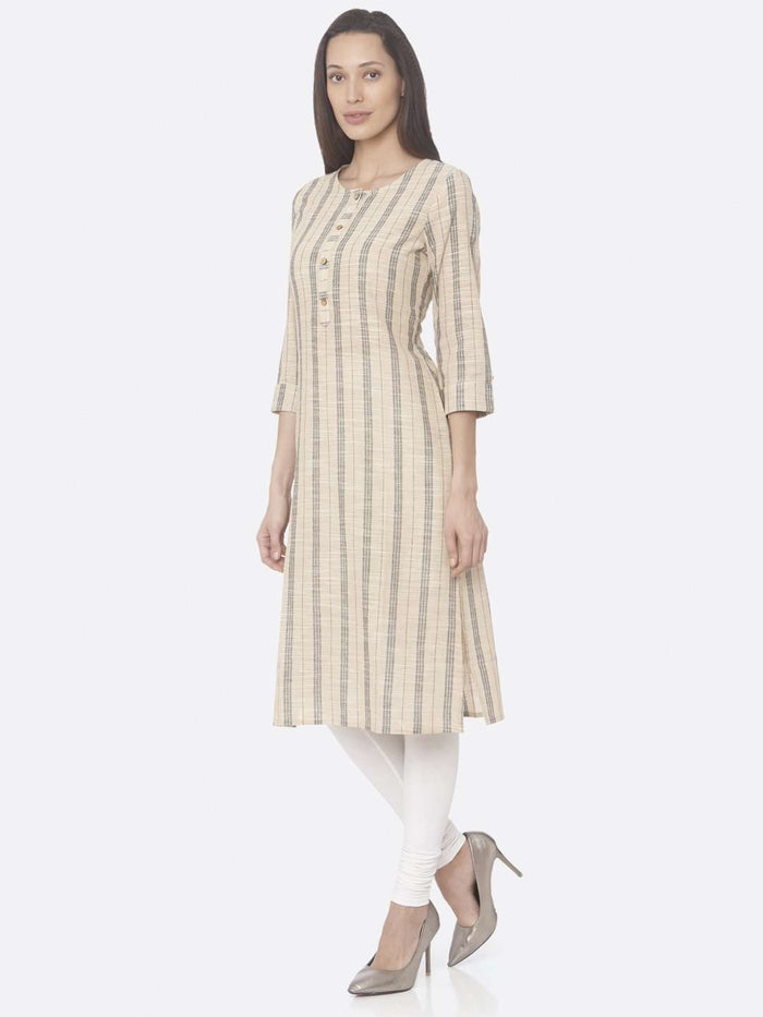 Left Side Beige Printed Cotton Straight Kurti With White Palazzo Pant